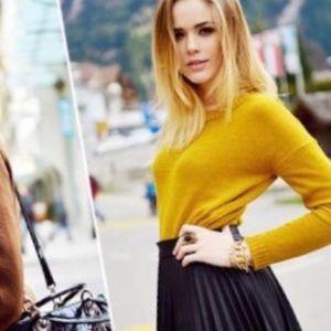 J Crew Mustard Chartreuse Italian Cashmere Sweater